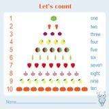 Υπολογισμός εκπαιδευτικός, φύλλο δραστηριότητας παιδιών Αριθμοί 1-10 εκμάθησης απεικόνιση αποθεμάτων