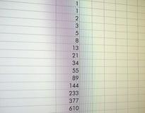 υπολογισμός με λογιστικό φύλλο (spreadsheet) στην οθόνη στοκ εικόνες με δικαίωμα ελεύθερης χρήσης