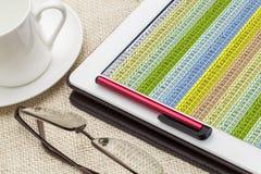 Υπολογισμός με λογιστικό φύλλο (spreadsheet) στοιχείων στην ψηφιακή ταμπλέτα Στοκ φωτογραφία με δικαίωμα ελεύθερης χρήσης