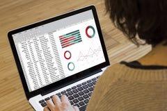 Υπολογισμός με λογιστικό φύλλο (spreadsheet) υπολογιστών γυναικών Στοκ Φωτογραφία