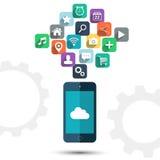 Υπολογισμός σύννεφων και έξυπνα τηλεφωνικά apps εικονίδια διανυσματική απεικόνιση Στοκ εικόνες με δικαίωμα ελεύθερης χρήσης