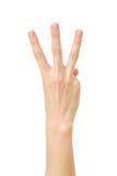 Υπολογισμός χεριών δάχτυλα τρία απομονωμένος στοκ φωτογραφίες