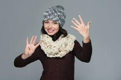Υπολογισμός χεριών - εννέα δάχτυλα στοκ εικόνα