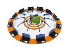 Υπολογιστές που συνδέονται με το φάκελλο στοιχείων διανυσματική απεικόνιση