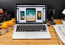 Υπολογιστές της Apple στις πιό πρόσφατες ανακοινώσεις WWDC iOS 11 για το iPad Στοκ Φωτογραφίες