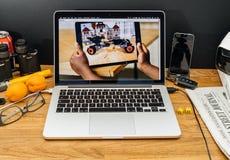Υπολογιστές της Apple στις πιό πρόσφατες ανακοινώσεις WWDC VR ios 11 Στοκ Φωτογραφία