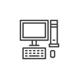 Υπολογιστής γραφείου, εικονίδιο γραμμών PC, διανυσματικό σημάδι περιλήψεων, γραμμικό εικονόγραμμα ύφους που απομονώνεται στο λευκ Στοκ Εικόνες