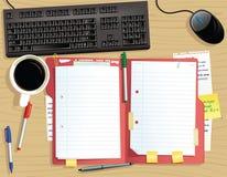 Υπολογιστής γραφείου με το αρχείο εγγράφων ελεύθερη απεικόνιση δικαιώματος