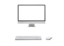 Υπολογιστής γραφείου με το ασύρματο πληκτρολόγιο Στοκ φωτογραφίες με δικαίωμα ελεύθερης χρήσης