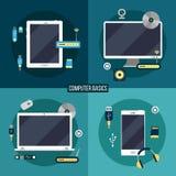 Υπολογιστής και ηλεκτρονικά βασικά απεικόνιση αποθεμάτων