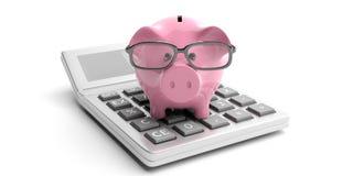 Υπολογιστής και piggy τράπεζα στο άσπρο υπόβαθρο τρισδιάστατη απεικόνιση