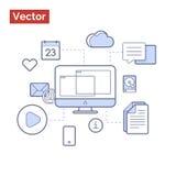 Υπολογιστής με τους κόμβους που που παρουσιάζουν λύσεις για τη ζωή και την επιχείρηση στοκ εικόνες