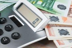 Υπολογιστής που βρίσκεται στο ευρώ Στοκ Φωτογραφίες