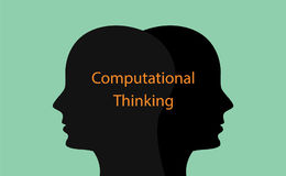 Υπολογιστική απεικόνιση έννοιας σκέψης με την ανθρώπινη επικεφαλής σκιαγραφία και κείμενο πέρα από το Στοκ Εικόνα