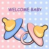 υποδοχή καρτών γενεθλίων ανασκόπησης μωρών Στοκ Φωτογραφίες