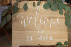 Υποδοχή πιάτων στο γάμο μας Δεξίωση γάμου Στοκ φωτογραφία με δικαίωμα ελεύθερης χρήσης