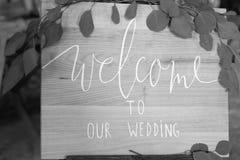 Υποδοχή πιάτων στο γάμο μας μαύρο λευκό Στοκ Φωτογραφίες