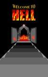 Υποδοχή στην κόλαση κλιμακοστάσιο κόλασης Μαύρες πύλες σιδήρου του φλογερού PU διανυσματική απεικόνιση