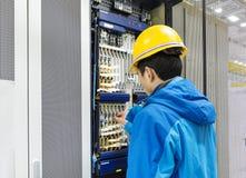 Υποδοχή σύνδεσης καλωδίων επικοινωνίας τηλεπικοινωνιών Στοκ Εικόνα