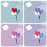 Υπόβαθρα με τα μπαλόνια και τα σύννεφα καρδιών στοκ φωτογραφίες