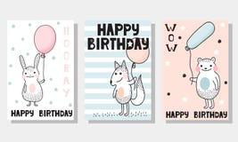 3 υπόβαθρα παιδιών ` s για τη ευχετήρια κάρτα Στοκ εικόνα με δικαίωμα ελεύθερης χρήσης