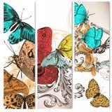 Υπόβαθρα που τίθενται φουτουριστικά με τις πεταλούδες Στοκ Εικόνες