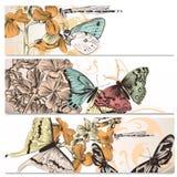 Υπόβαθρα που τίθενται όμορφα με τις πεταλούδες Στοκ φωτογραφίες με δικαίωμα ελεύθερης χρήσης