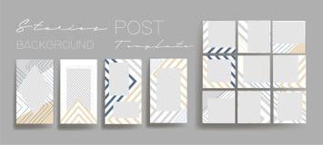 Υπόβαθρα σχεδίου για το κοινωνικό έμβλημα μέσων Σύνολο ιστοριών instagram και μετα προτύπων πλαισίων Διανυσματική κάλυψη διανυσματική απεικόνιση