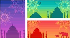 Υπόβαθρα της Ινδίας με Taj Mahal, το ναό Lotus και τα mandalas διανυσματική απεικόνιση