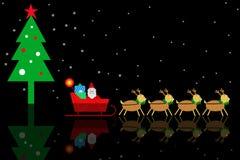 Υπόβαθρα Χριστουγέννων με τη σκηνή Άγιου Βασίλη και ταράνδων Στοκ Εικόνες