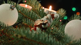 Υπόβαθρα Χριστουγέννων: όμορφη σφαίρα Χριστουγέννων με Santa στο χριστουγεννιάτικο δέντρο με τα κεριά απόθεμα βίντεο