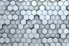Υπόβαθρο άσπρα hexagons με την ανακούφιση και τις σκιές, Στοκ Εικόνες