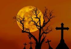 Υπόβαθρο έννοιας αποκριών με το νεκρό δέντρο τρομακτικών σκιαγραφιών και τους απόκοσμους σταυρούς σκιαγραφιών Στοκ εικόνες με δικαίωμα ελεύθερης χρήσης