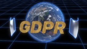 Υπόβαθρο έννοιας ασφάλειας GDPR, τρισδιάστατη απόδοση Στοκ Φωτογραφίες
