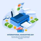 Υπόβαθρο έννοιας ημέρας λογιστικής εκτυπωτών εργασίας, isometric ύφος ελεύθερη απεικόνιση δικαιώματος