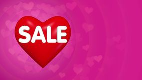 Υπόβαθρο έννοιας πώλησης ημέρας βαλεντίνων, μεγάλη κόκκινη καρδιά με το κείμενο απόθεμα βίντεο