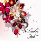 Υπόβαθρο ή απεικόνιση με hibiscus τα λουλούδια στο αναδρομικό ύφος Στοκ Φωτογραφίες
