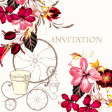 Υπόβαθρο ή απεικόνιση με hibiscus τα λουλούδια στο αναδρομικό ύφος Στοκ Φωτογραφία