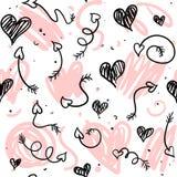 Υπόβαθρο αγάπης doodle με τις καρδιές και τα βέλη ελεύθερη απεικόνιση δικαιώματος