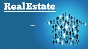 Υπόβαθρο ακίνητων περιουσιών με το σπίτι ανθρώπων διανυσματική απεικόνιση