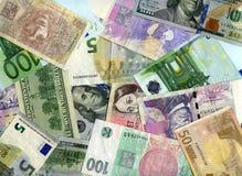 Υπόβαθρο Αμερικανικά δολάρια, ευρο- και τσεχικά koruns Στοκ Εικόνες