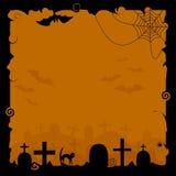 Υπόβαθρο αποκριών με τις σκιαγραφίες των ροπάλων, των ιστών αράχνης και των ταφοπετρών Στοκ φωτογραφία με δικαίωμα ελεύθερης χρήσης