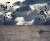 Υπόβαθρο αποκριών με το κενό ξύλο Στοκ Φωτογραφία