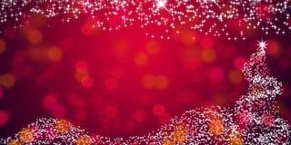 Υπόβαθρο αστεριών Χριστουγέννων με την de-στραμμένη ταπετσαρία υποβάθρου φω'των κόκκινη αφηρημένη στοκ εικόνα