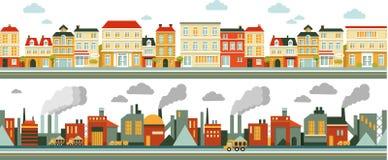 Υπόβαθρο βιομηχανικού και πανοράματος πόλεων στο επίπεδο Στοκ Φωτογραφία