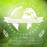 Υπόβαθρο βιοποικιλότητας με τη γη και την κορδέλλα μια τυπογραφία μορφής απεικόνιση αποθεμάτων
