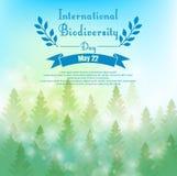 Υπόβαθρο βιοποικιλότητας με τους φοίνικες και την κορδέλλα διανυσματική απεικόνιση