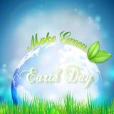 Υπόβαθρο γήινης ημέρας με τις λέξεις, τον μπλε πλανήτη, τα πράσινες φύλλα και τη χλόη επίσης corel σύρετε το διάνυσμα απεικόνισης Στοκ Φωτογραφία