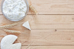 Υπόβαθρο γαλακτοκομικών προϊόντων και σιταριών Στοκ φωτογραφίες με δικαίωμα ελεύθερης χρήσης