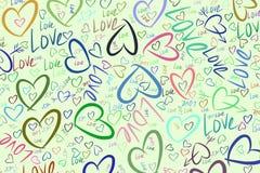 Υπόβαθρο για ιστοσελίδας, το γραφικό σχέδιο, τον κατάλογο ή τη σύσταση, συρμένη χέρι αγάπη για την ημέρα βαλεντίνων, εορτασμοί ή  απεικόνιση αποθεμάτων